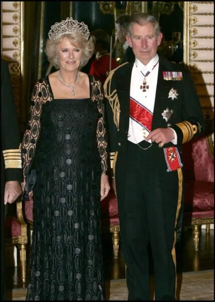 Camilla et Charles lors d'une réception à Buckingham, le 25 octobre 2005.