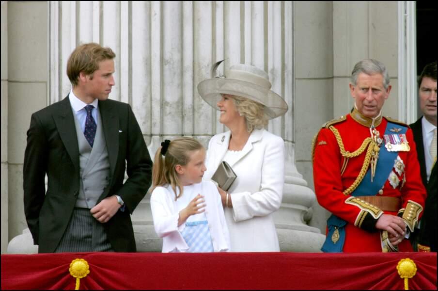 """La famille royale d'Angleterre lors de la cérémonie """"Trooping The Colour"""", le 13 juin 2005"""