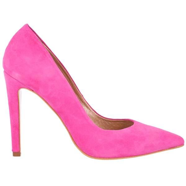 On copie avec les escarpins roses bonbon, Bazar Chic, 75€