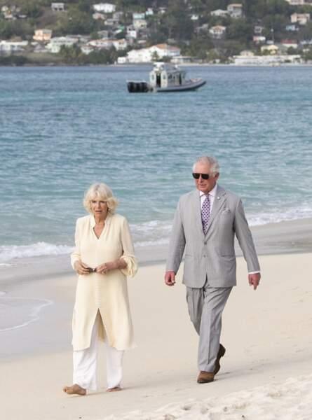 Charles et Camilla sur l'île de Grenade, le 23 mars 2019