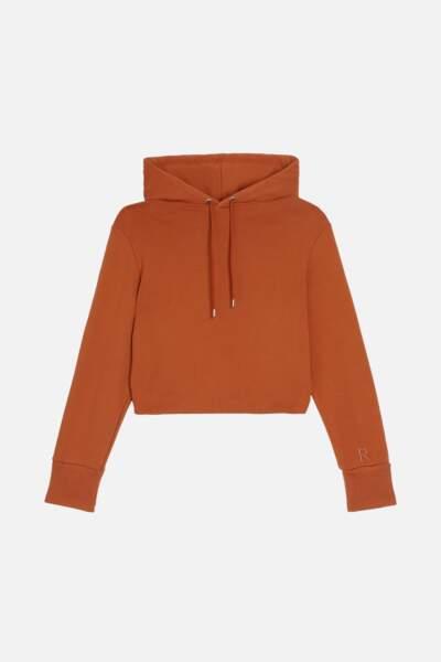 Sweat très court en jersey de coton terracotta, 150€, ROSEANNA
