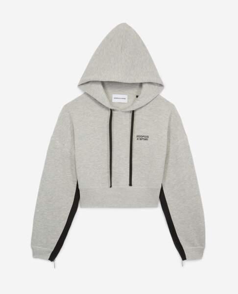 Sweatshirt gris à capuche, 148€,The Kooples