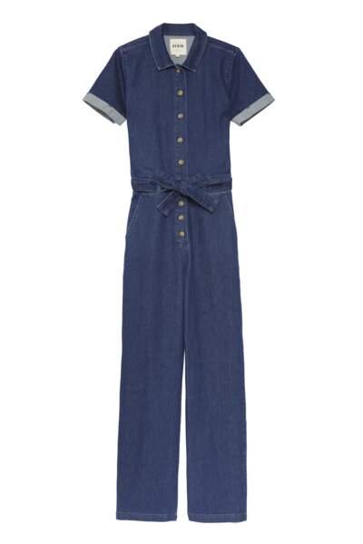 Combinaison en jean, Sézane, 150 €.