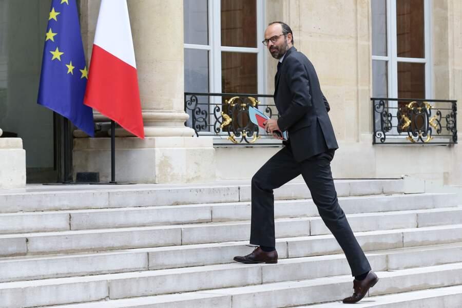 Edouard Philippe arrive à l'Elysée pour son premier conseil des ministres, le 18 mai 2017
