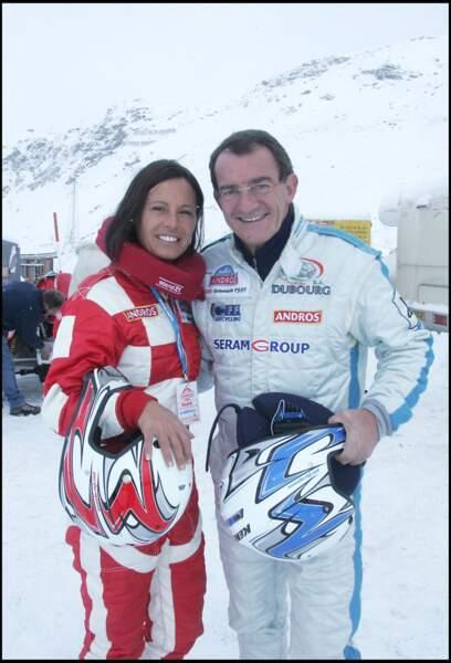 Jean-Pierre Pernaut et Nathalie Marquay lors du trophée Andros à Val Thorens la même année