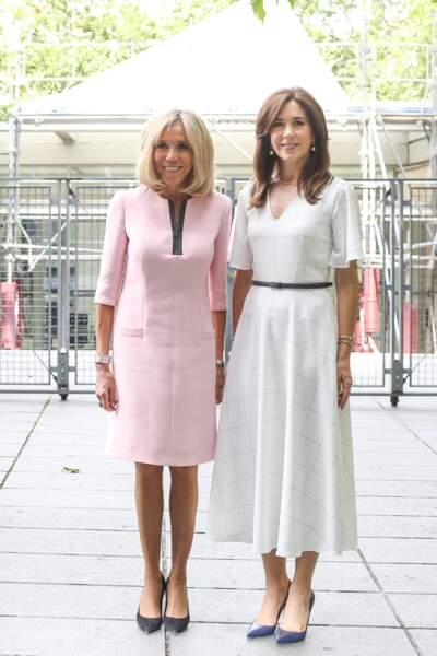 La princesse Mary de Danemark et Brigitte Macron au Centre Pompidou, à Paris, le 24 juin 2019
