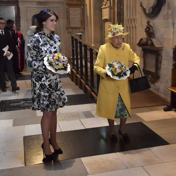La reine Elisabeth II et sa petite fille la princesse Eugenie, en 2019 à Windsor