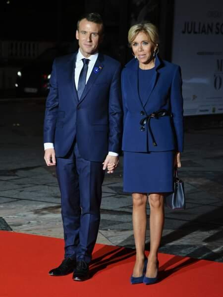 Emmanuel et Brigitte Macron à un  dîner d'Etat au Musée d'Orsay à Paris, France, le 10 novembre 2018