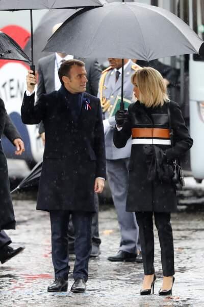 Emmanuel et Brigitte Macron au du centenaire de l'Armistice du 11 novembre 1918 à l'Arc de Triomphe à Paris
