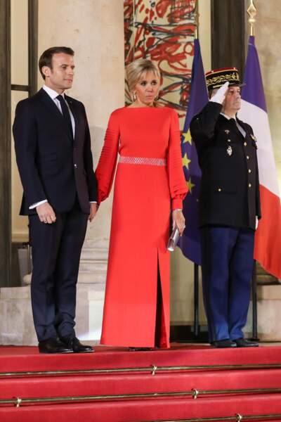 Emmanuel Macron et sa femme Brigitte au Palais de l'Elysée pour un dîner d'état, Paris, le 25 mars 2019