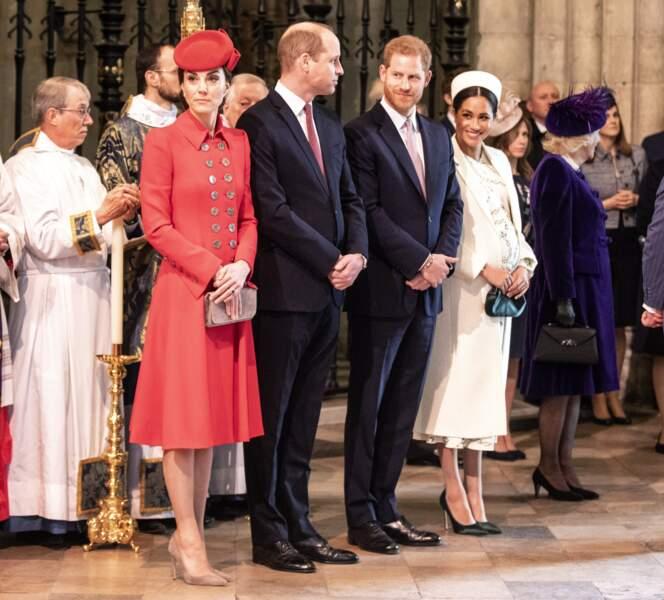 Kate Middleton, le prince William, le prince Harry, et Meghan Markle, lors de la messe en l'honneur de la journée du Commonwealth à l'abbaye de Westminster à Londres le 11 mars 2019.