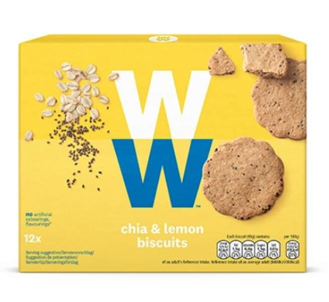 Biscuits citron et graines de chia, Weight Watcher, 2,95€ la boîte de 12 sur boutique-weightwatchers.fr.