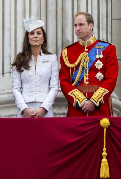 Kate Middleton et le Prince William, lors de la cérémonie Trooping the Colour, en juin 2014.