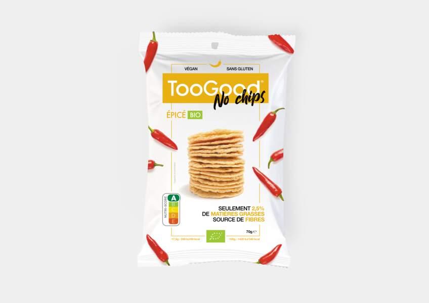 NoChips Salé Bio ou  NoChips Épicé Bio, TooGood, 2€99 le sachet de 70g, en exclusivité chez Monoprix.