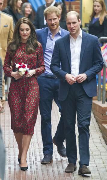 """Le 19 décembre 2016, Kate et William arrivant à la fête de Noël de """"Heads Together"""" à Londres."""