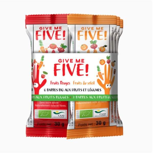 Give me Five Fruit rouges (Betterave - Cerise - Carotte - Datte – Tomate) ou Give me Five Fuit du soleil (Abricot - Carotte - Datte - Acerola – Betterave), Phytoquant, 20€ les 6 barres de 30 gr, sur phytoquant.net