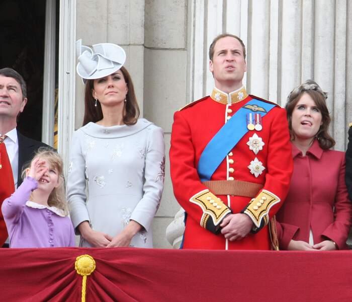 L'année suivante, en juin 2012, Kate et William au balcon de Buckingham pour la cérémonie Trooping the Colour.