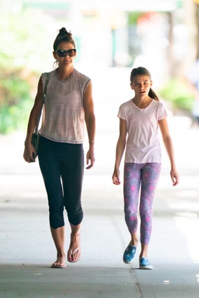 Suri Cruise va souvent faire du sport avec sa mère Katie Holmes, comme ici en juillet 2019.