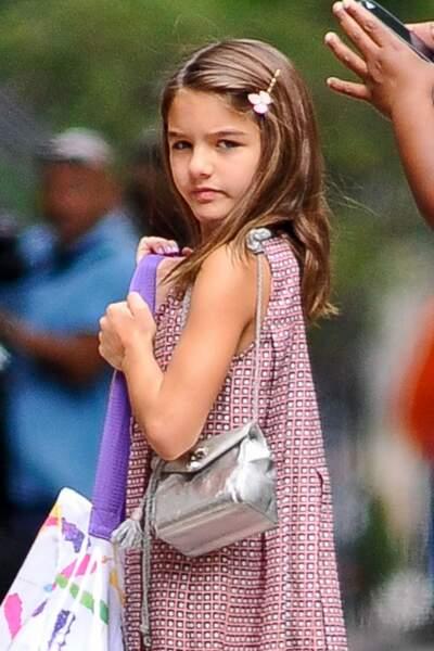 Suri Cruise,le 27 juillet 2015 en jolir robe liberty pour voir son père Tom Cruise, de passage à New York pour un tournage.