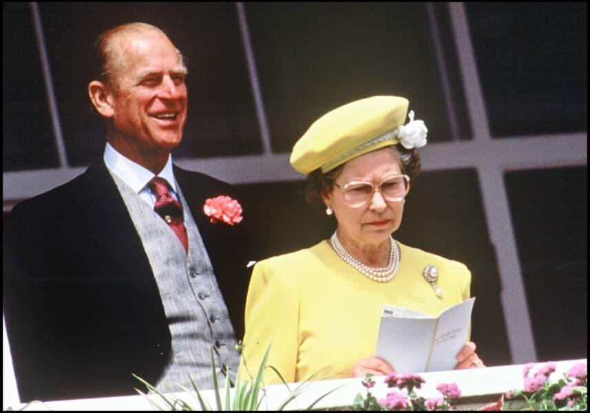Philip, duc d'Edimbourg et la reine Elizabeth II en 1988