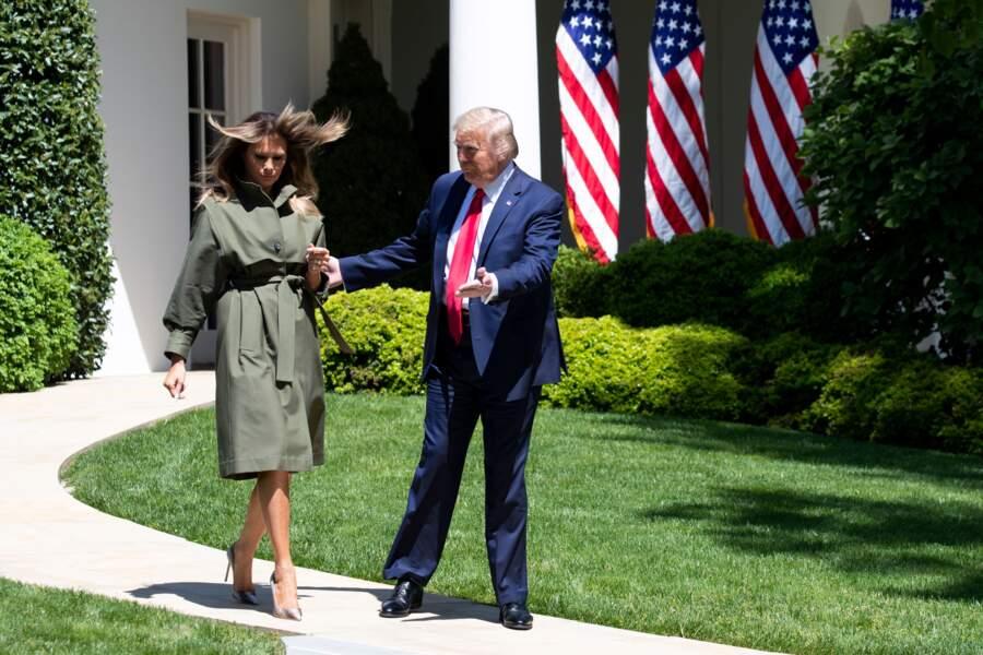 Melania Trump, le le 22 avril 2020 à Washington .