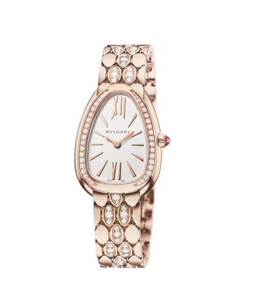 Serpenti Seduttori, or rose et diamants, bracelet semi pavé diamants, prix sur demande, Bulgari