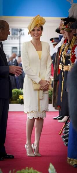 Letizia d'Espagne lors d'une réception à Londres, le 12 juillet 2017
