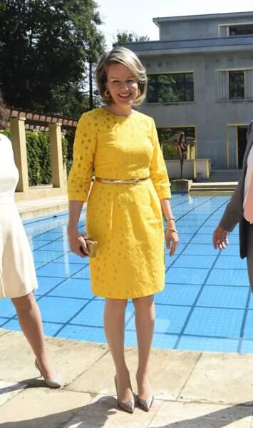 Mathilde de Belgique, à la villa Empain à Bruxelles le 4 juillet 2018.