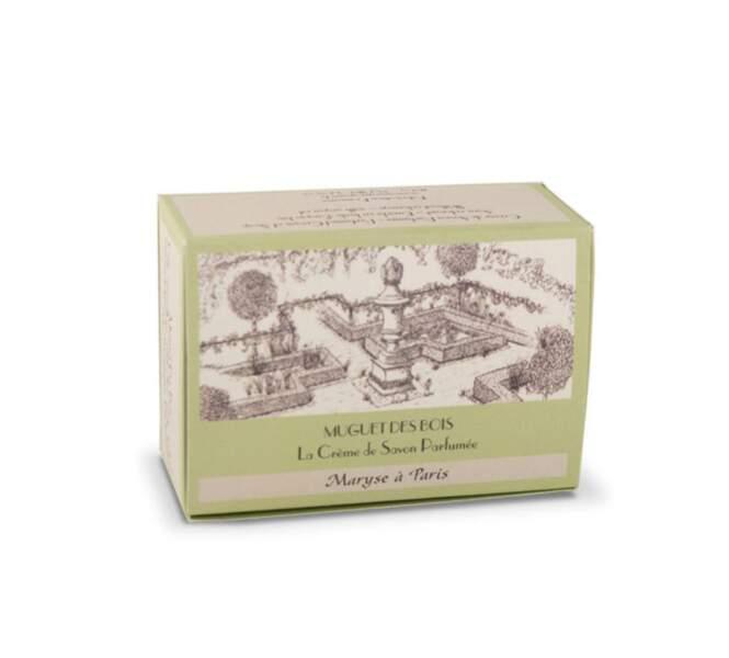 Conçue et réalisée par un Maître savonnier Français : Crème de savon Muguet des Bois, 9€, Maryse à Paris, en vente sur www.maryseaparis.com