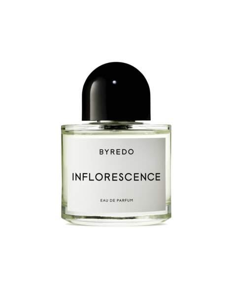 Pétales de Rose, Frésia , Magnolia, Muguet et Jasmin frais : Inflorescence, Byredo, 100 ml, 187€, byredo.com