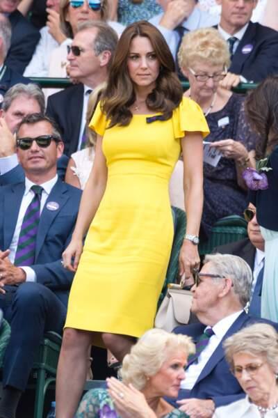 Kate Middleton lors du tournoi de Wimbledon, le 15 juillet 2018 à Londres
