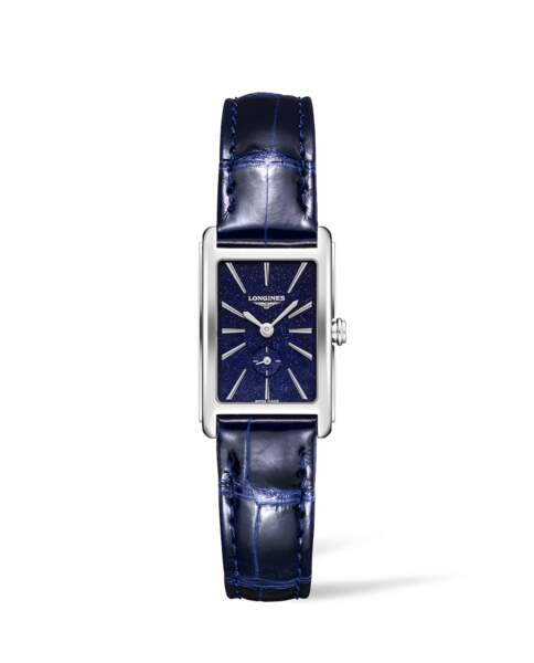 """Modèle rectangulaire, collection """"Dolce Vita"""", cadran bleu nuit étoilée - bracelet en cuir, 1 210€,  Longines"""