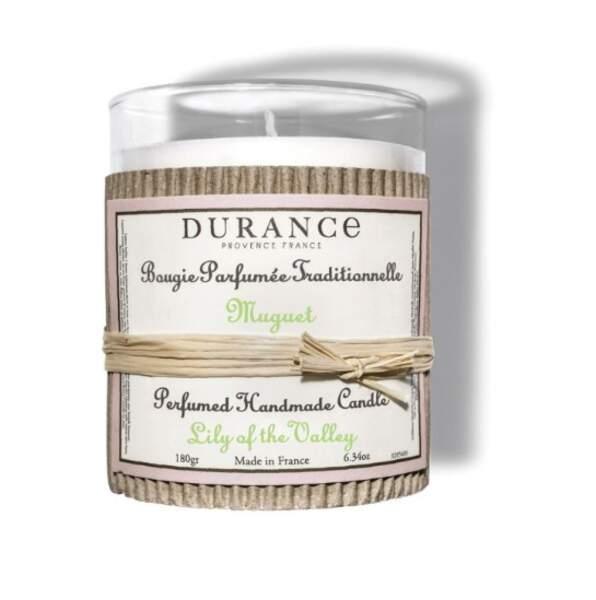 Fabriquée de décorée à la main en France : Bougie parfumée Muguet, Durance en Provence, 16,50€ sur durance.fr