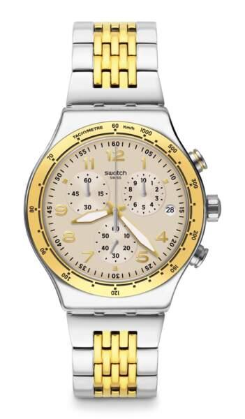 Casual Chic YVS467G, bracelet en acier, 200€, Swatch Essentials