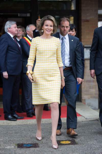 La reine Mathilde de Belgique à Louvin le 18 mai 2016