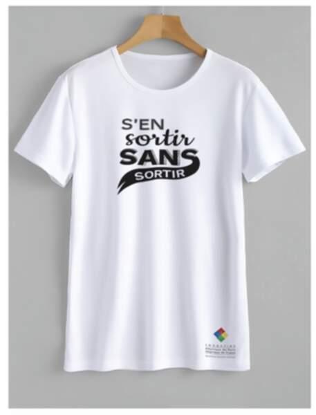 """T-shirt """"s'en sortir sans sortir"""" - Disponible en plusieurs modèles, 25€, de la marque TRIAAANGLES en collaboration avec Marie Terry"""