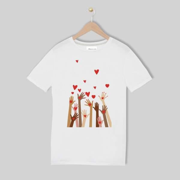 """Tee-shirt sérigraphie en coton biologique """"Merci"""", 29€, Maison 123"""