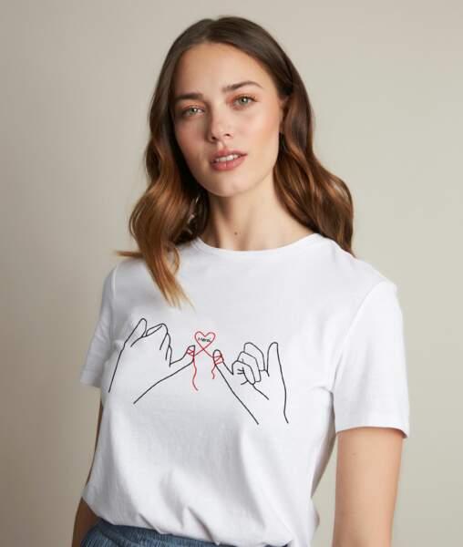 """Tee-shirt sérigraphie en coton biologique """"Merci"""", 29 €, Maison 123"""