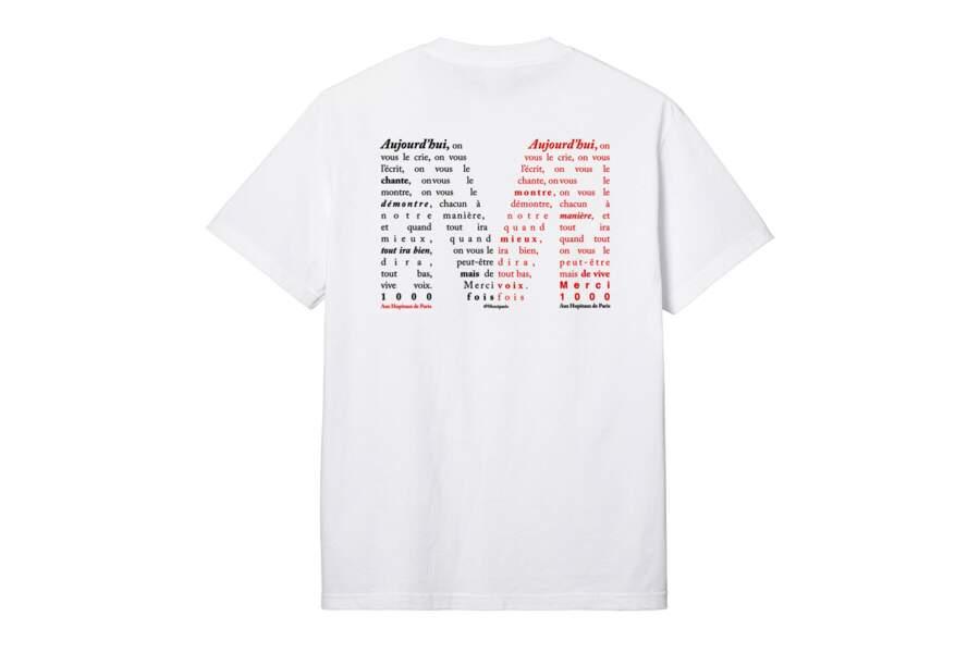 T-shirt disponible en 4 tailles du S au XL, 33€, sur le e-shop de Merci