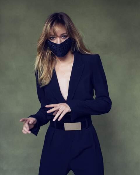 Masque Giuseppe Zanotti, combinaison en coton et soie Iro, ceinture Zara