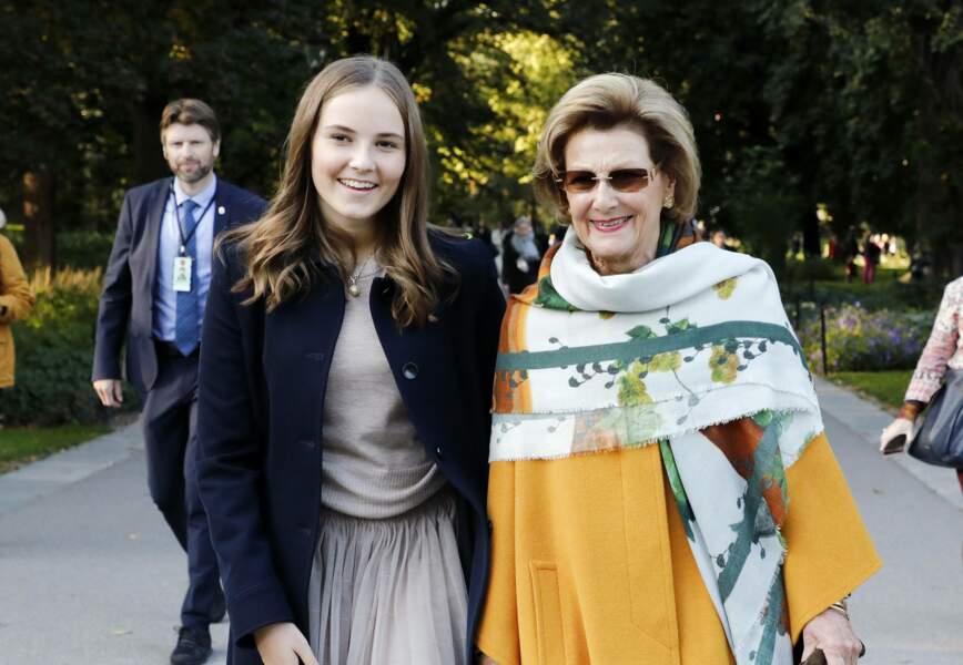 La princesse Ingrid Alexandra et la reine Sonja de Norvège à Oslo le 17 septembre 2019