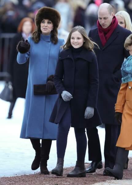 La princesse Ingrid Alexandra de Norvège avec le prince William d'Angleterre et Kate Middleton à Oslo en février 2018