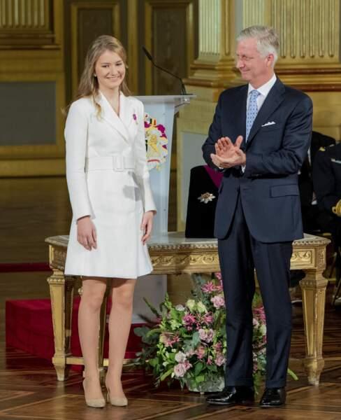 La princesse Elisabeth de Belgique et le roi Philippe à Bruxelles le 25 octobre 2019