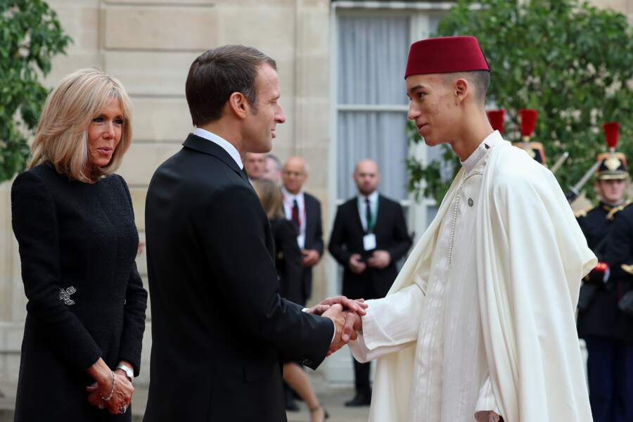Le prince Moulay El Hassan du Maroc reçu par Brigitte et Emmanuel Macron le 30 septembre 2019 à Paris