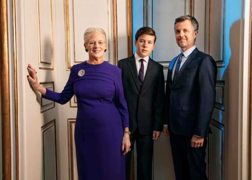 La reine Margrethe II, le prince Frederik et le prince Christian de Danemark en 2019