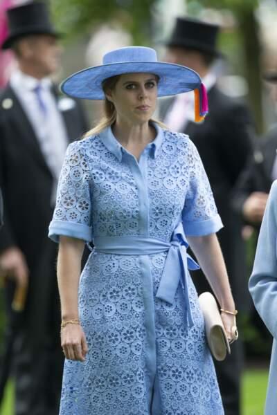 La princesse Beatrice d'York lors de la première journée des courses d'Ascot 2019, à Ascot, Royaume Uni, le 18 juin 2019.