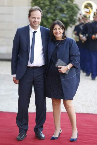 Anne Hidalgo et Jean-Marc Germain lors du dîner d'état en l'honneur du couple royal d'Espagne en 2015