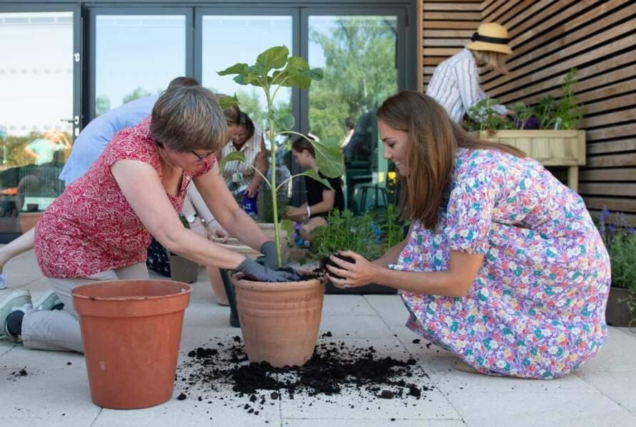 La duchesse de Cambridge a fait du jardinage, et a planté des fraises et de la lavande.