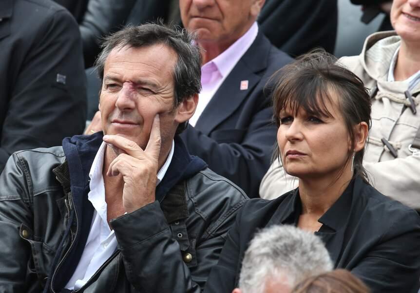 Jean-Luc Reichmann et Nathalie Lecoultre en tribune de Roland Garrros