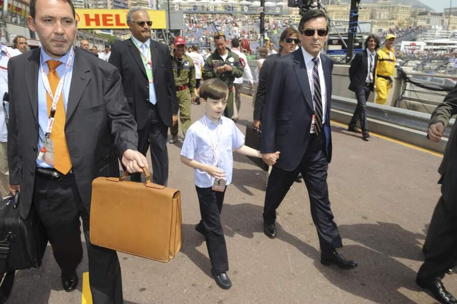 Francois Fillon au Grand Prix de Formule 1 à Monaco avec son fils Arnaud, le 24 mai 2009